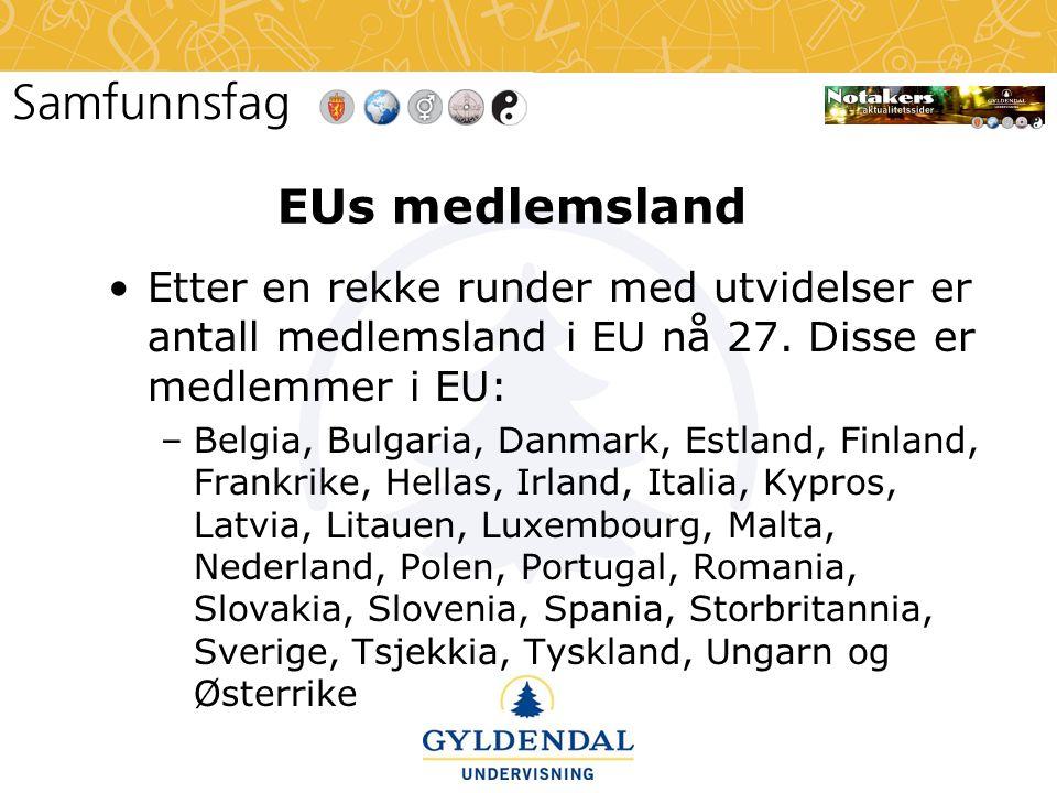 EUs medlemsland Etter en rekke runder med utvidelser er antall medlemsland i EU nå 27. Disse er medlemmer i EU: