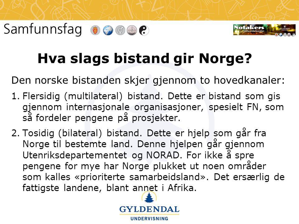 Hva slags bistand gir Norge