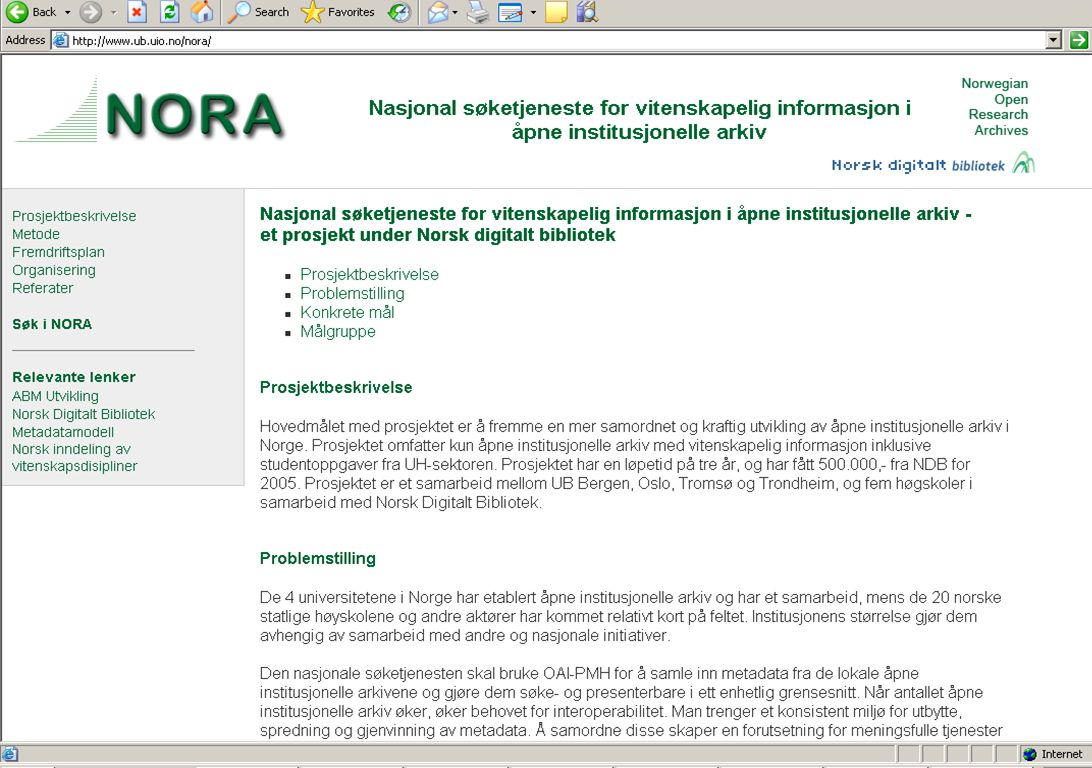 NORA Norwegian Open Research Archives