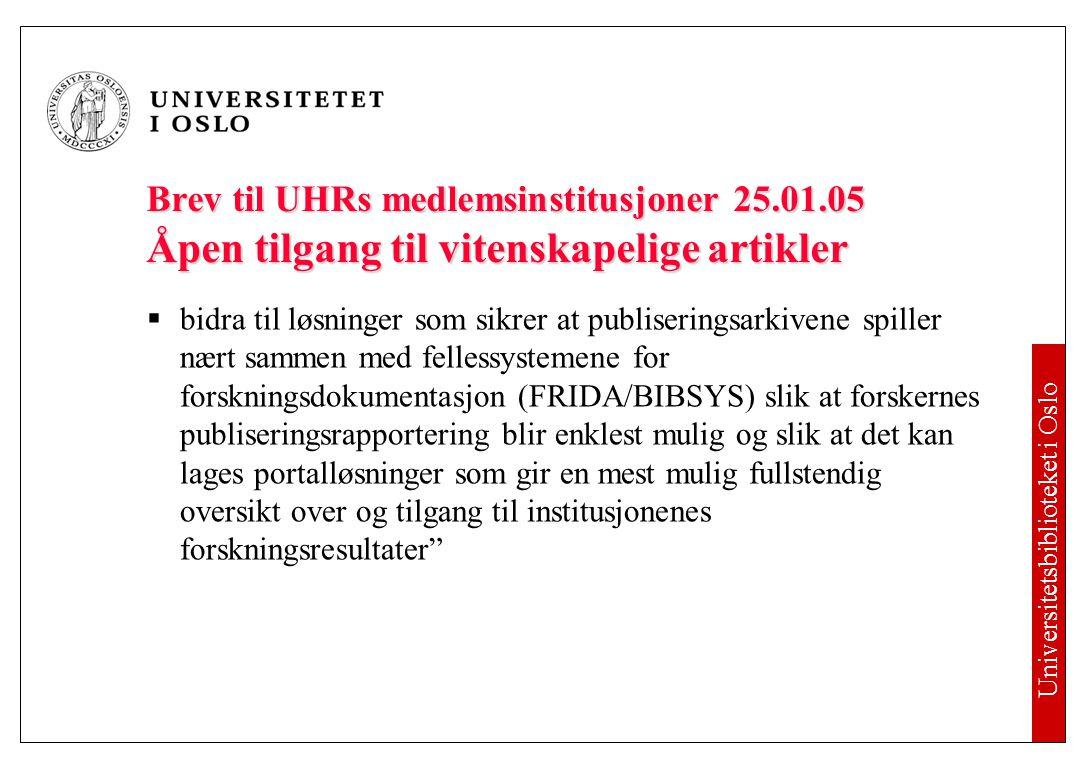 Brev til UHRs medlemsinstitusjoner 25. 01