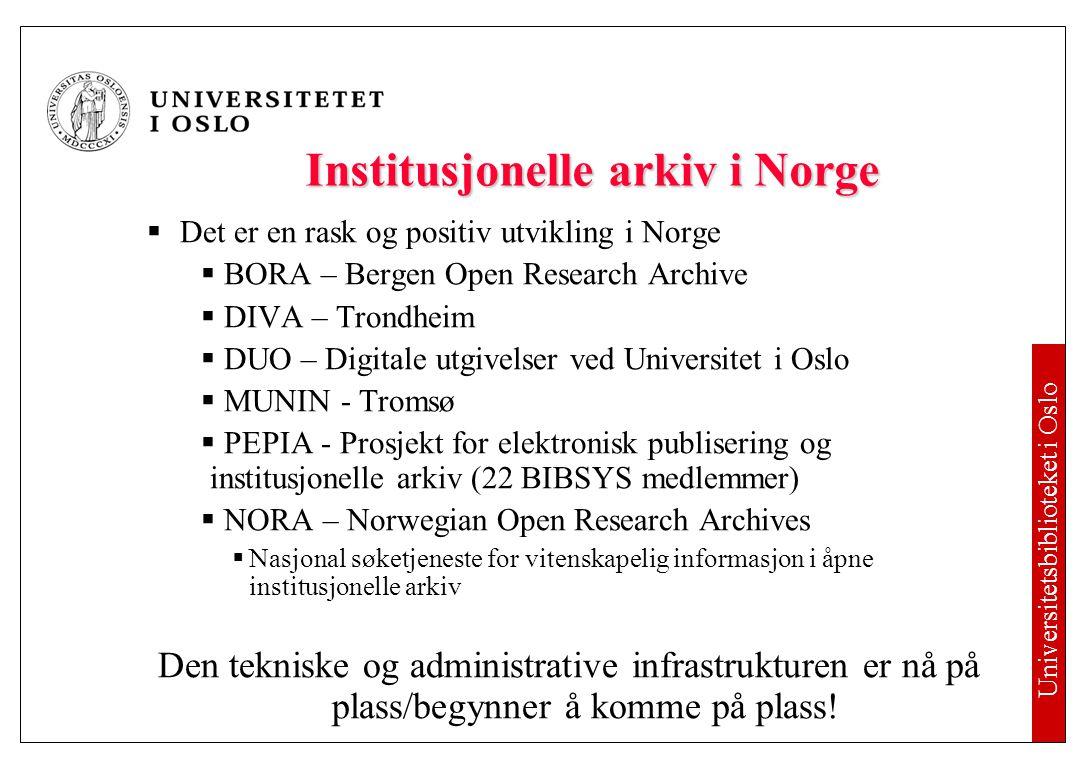 Institusjonelle åpne publiseringsarkiv