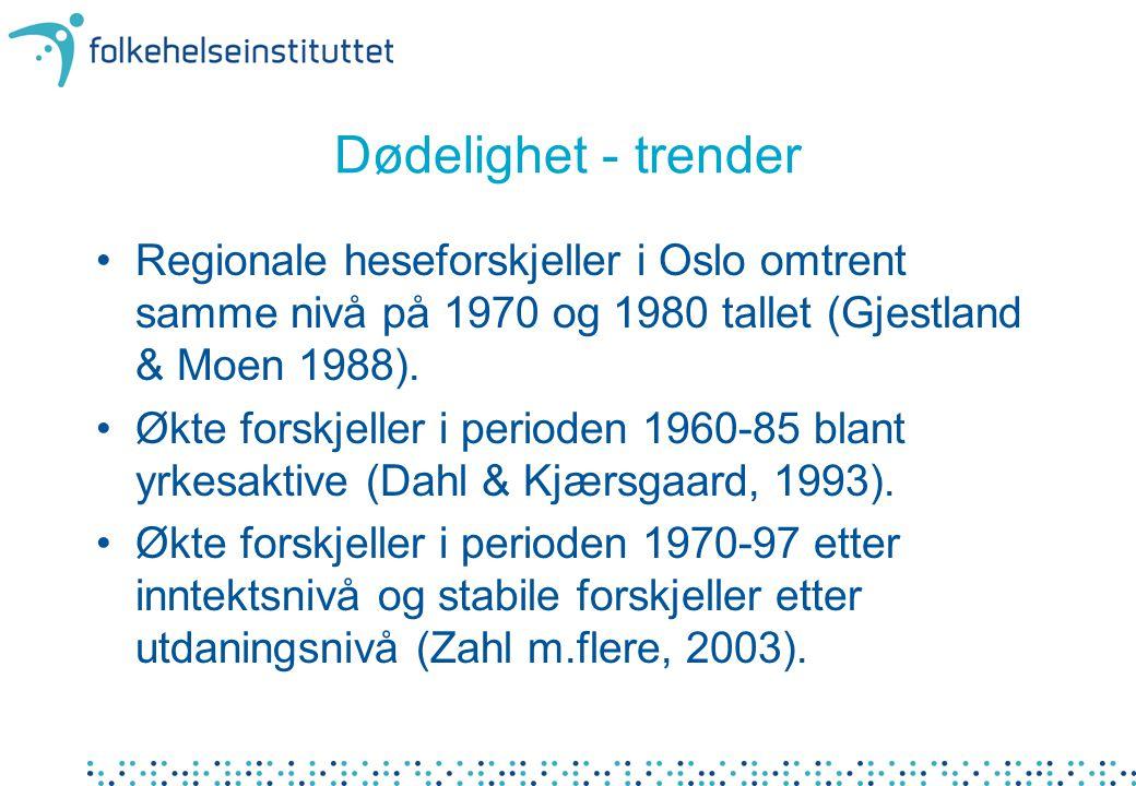 Dødelighet - trender Regionale heseforskjeller i Oslo omtrent samme nivå på 1970 og 1980 tallet (Gjestland & Moen 1988).