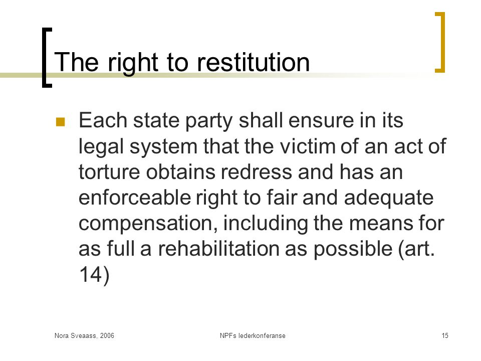 The right to restitution