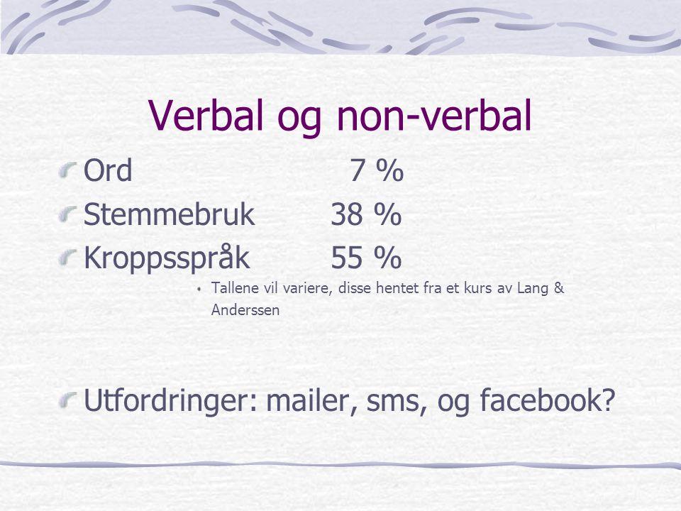 Verbal og non-verbal Ord 7 % Stemme bruk 38 % Kroppsspråk 55 %