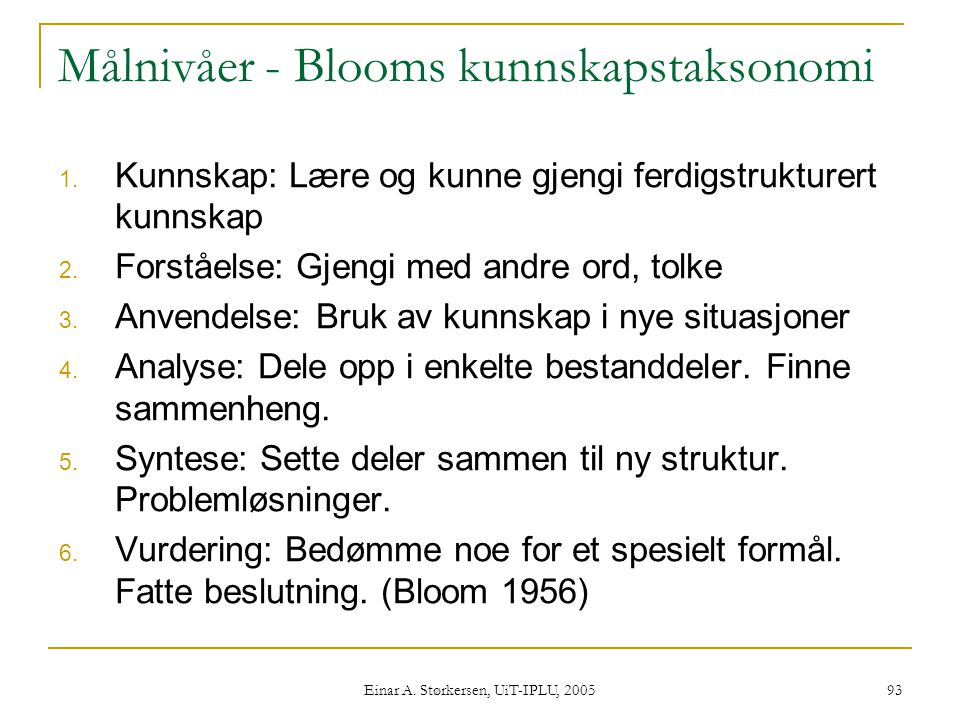 Målnivåer - Blooms kunnskapstaksonomi