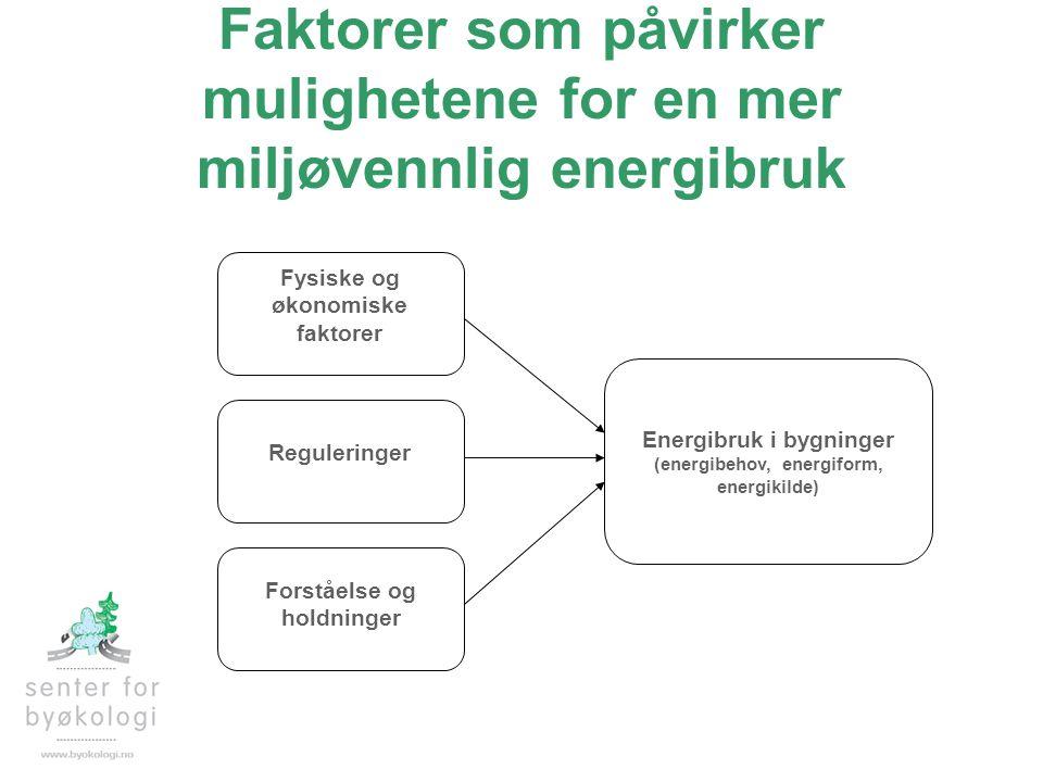 Faktorer som påvirker mulighetene for en mer miljøvennlig energibruk