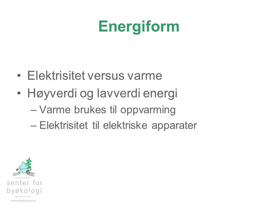 Energiform Elektrisitet versus varme Høyverdi og lavverdi energi