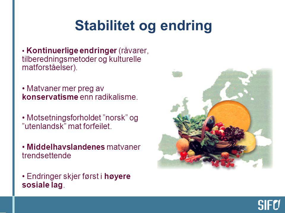 Stabilitet og endring Kontinuerlige endringer (råvarer, tilberedningsmetoder og kulturelle matforståelser).