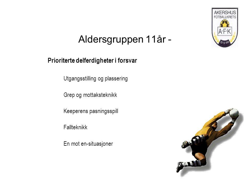 Aldersgruppen 11år - Prioriterte delferdigheter i forsvar