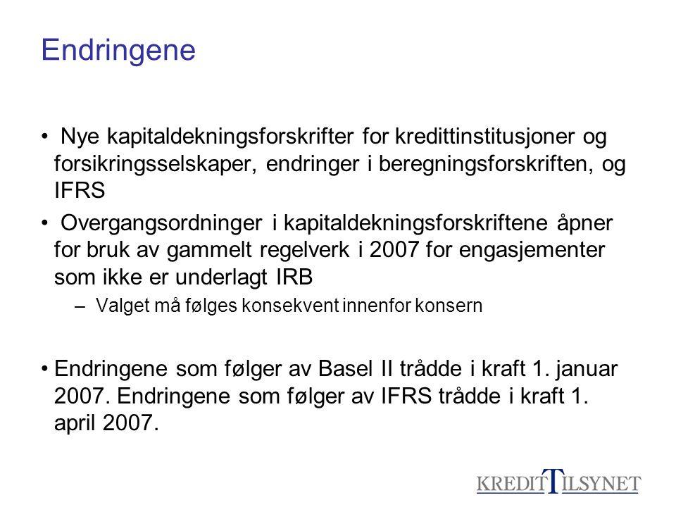 Endringene Nye kapitaldekningsforskrifter for kredittinstitusjoner og forsikringsselskaper, endringer i beregningsforskriften, og IFRS.
