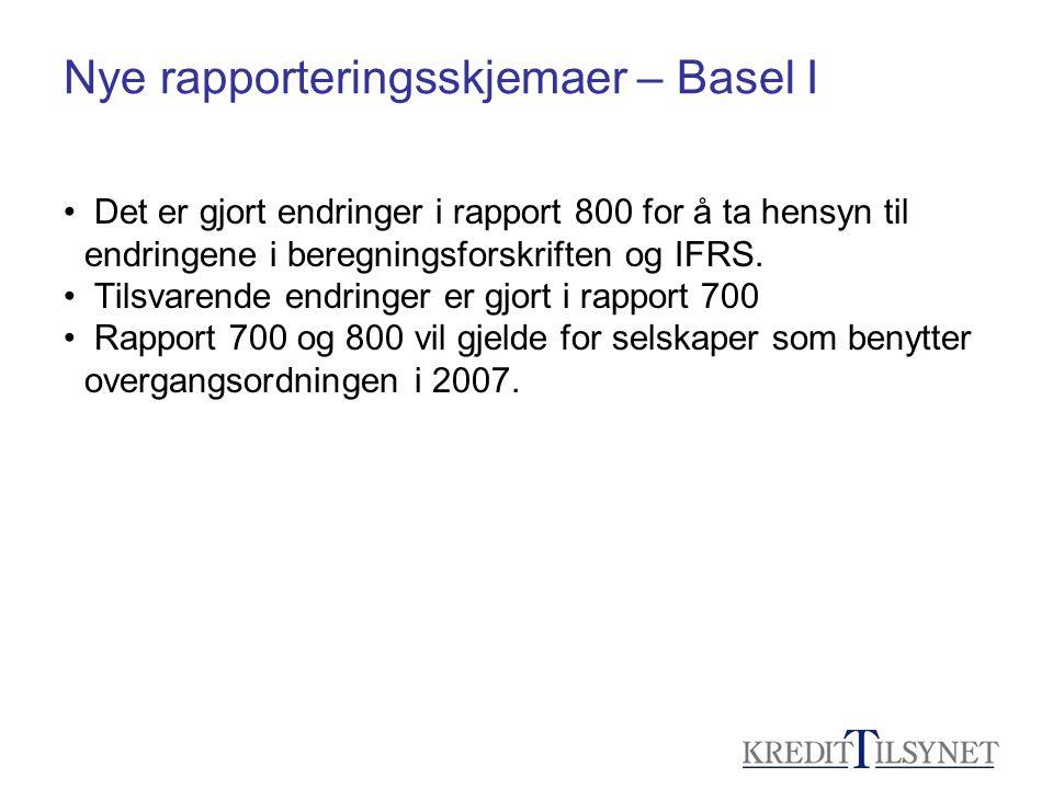 Nye rapporteringsskjemaer – Basel I