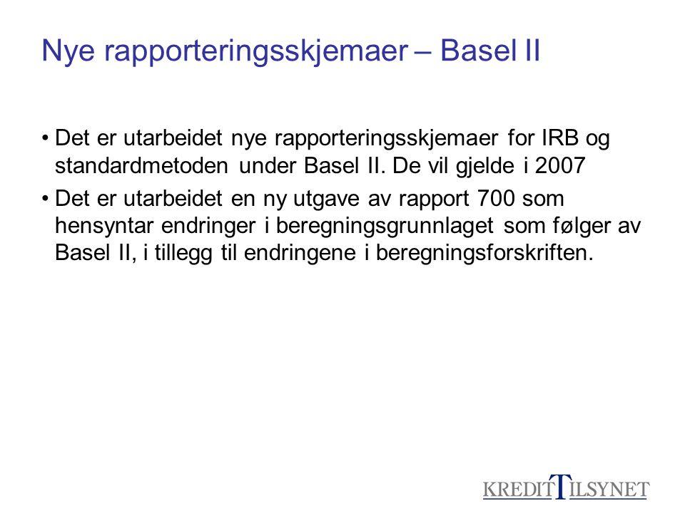 Nye rapporteringsskjemaer – Basel II
