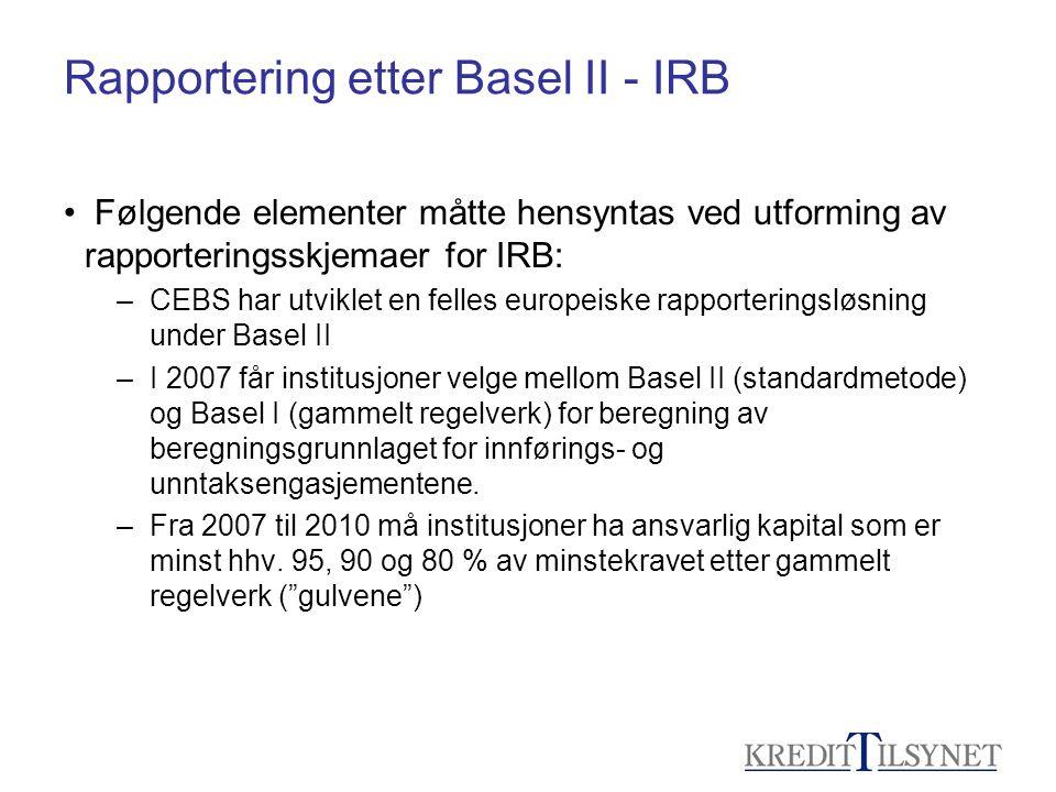 Rapportering etter Basel II - IRB