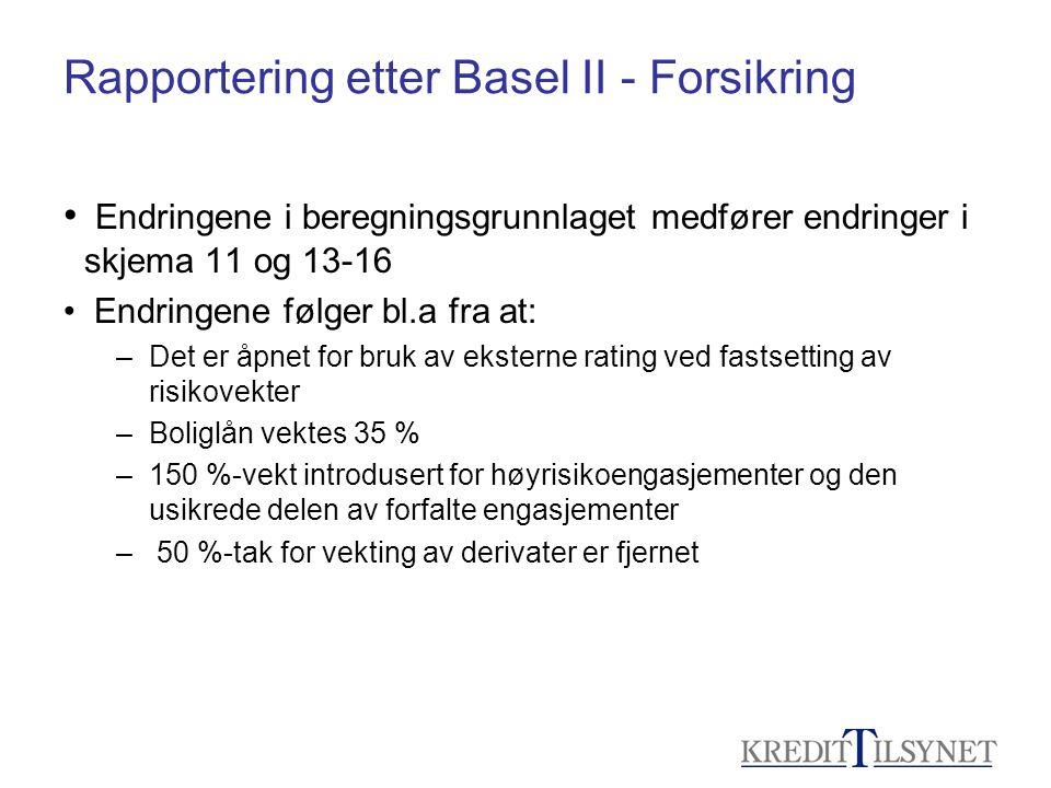 Rapportering etter Basel II - Forsikring