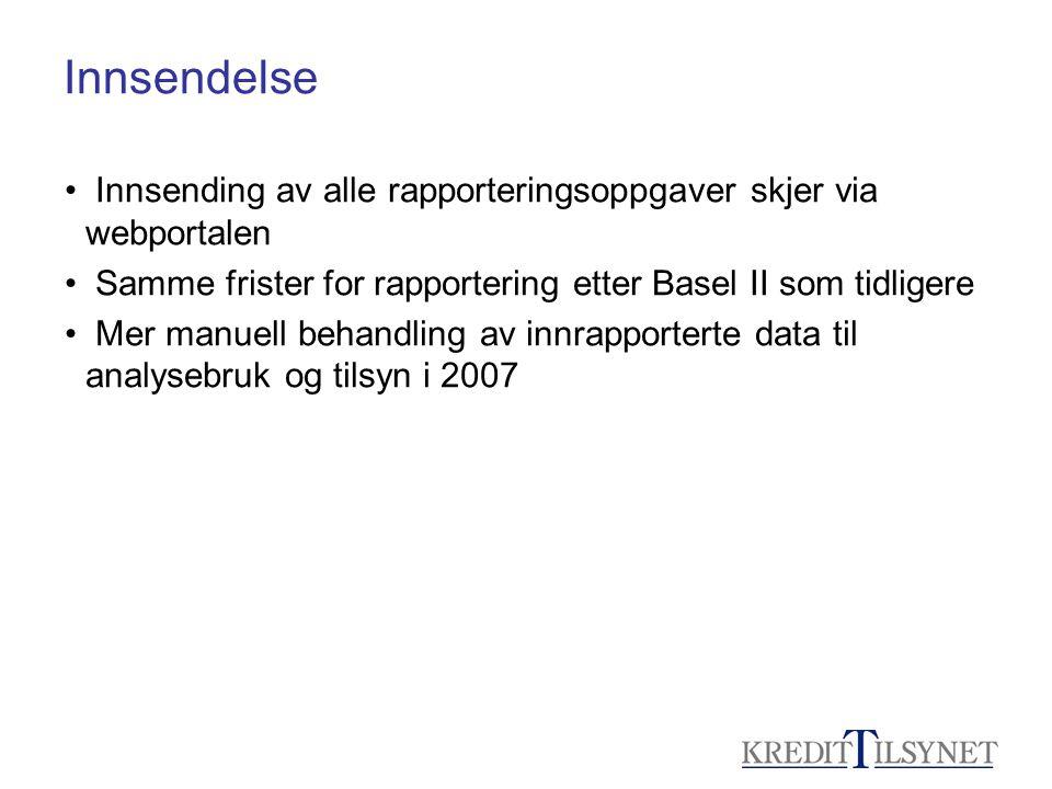Innsendelse Innsending av alle rapporteringsoppgaver skjer via webportalen. Samme frister for rapportering etter Basel II som tidligere.