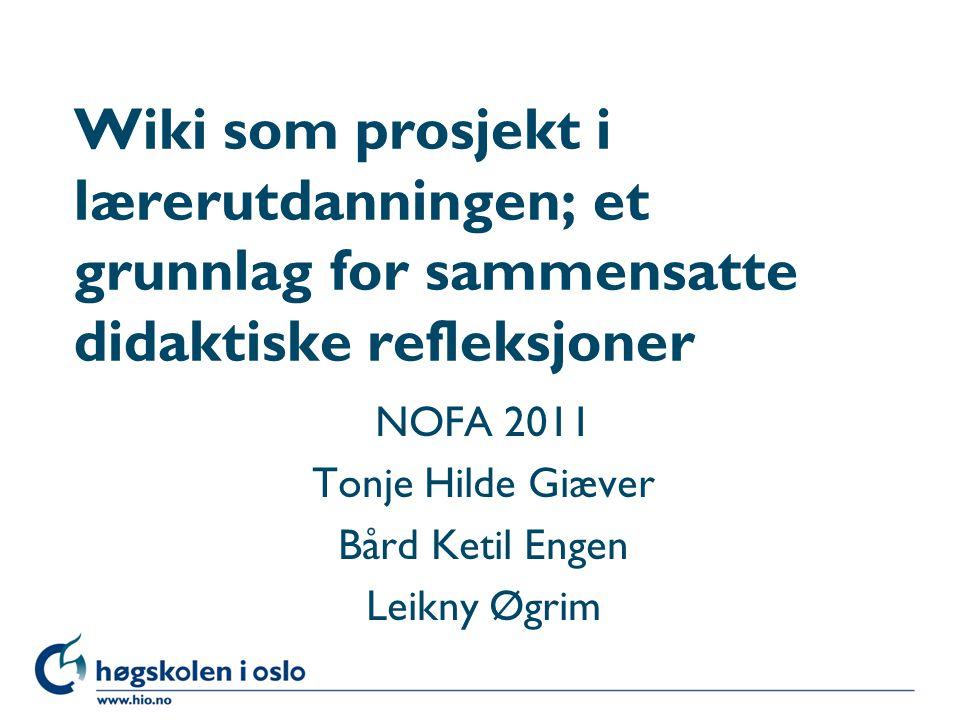 NOFA 2011 Tonje Hilde Giæver Bård Ketil Engen Leikny Øgrim