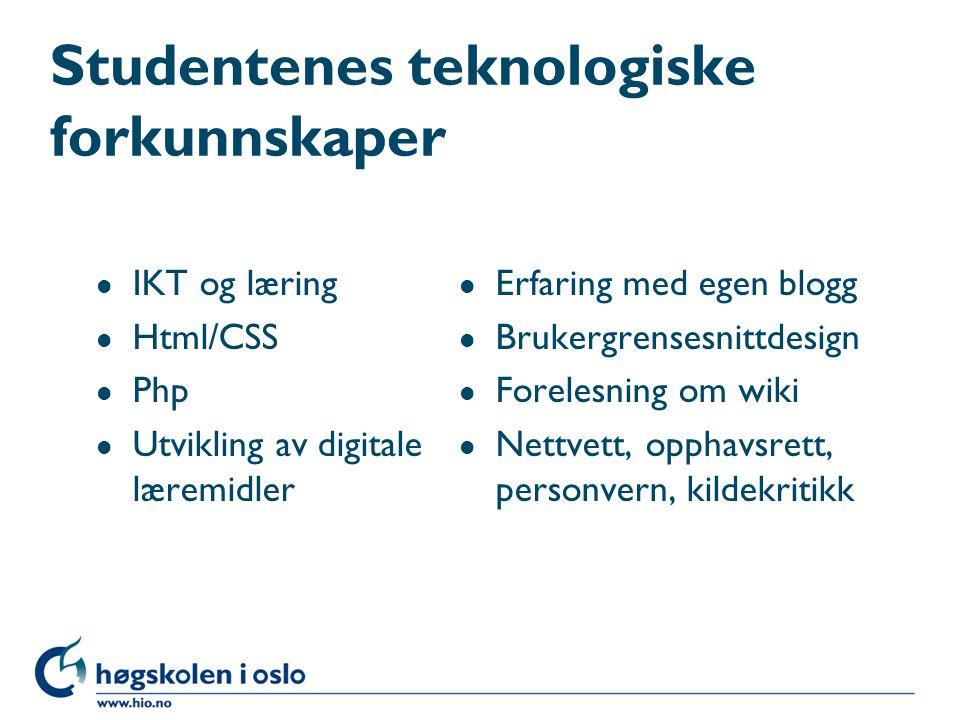 Studentenes teknologiske forkunnskaper