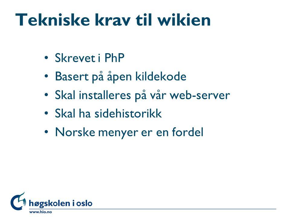 Tekniske krav til wikien