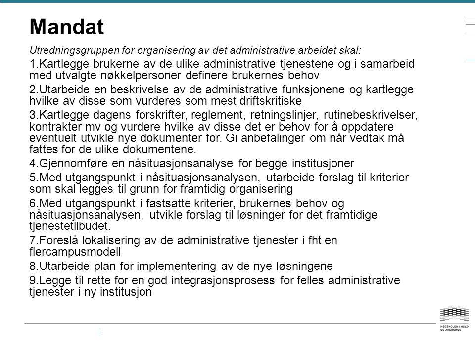 Mandat Utredningsgruppen for organisering av det administrative arbeidet skal: