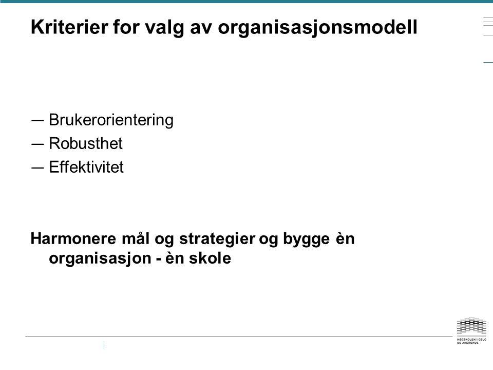 Kriterier for valg av organisasjonsmodell
