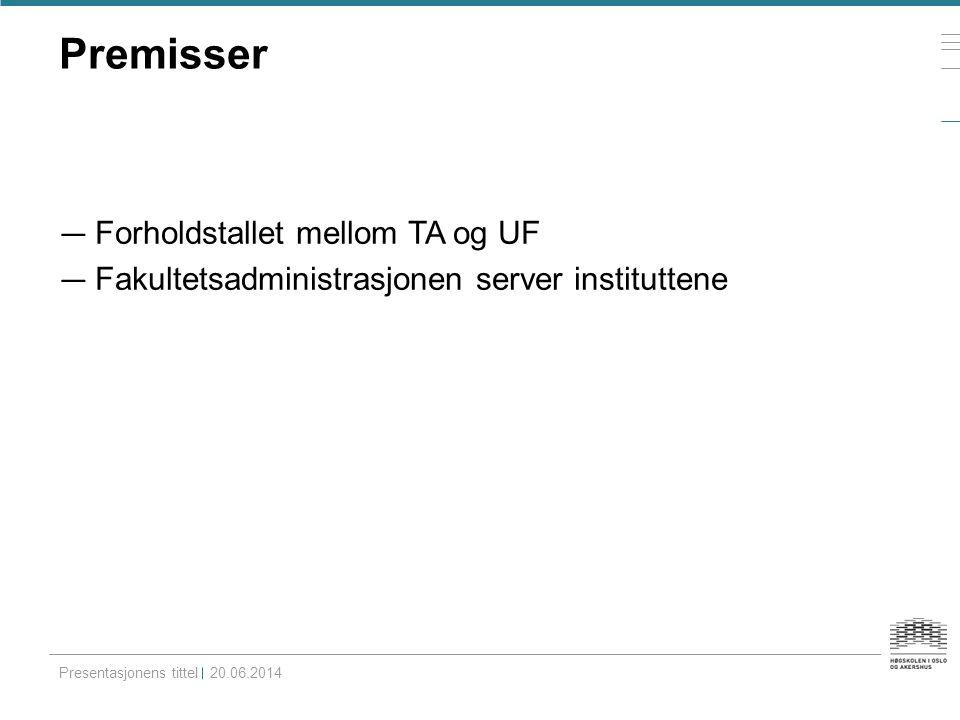 Premisser Forholdstallet mellom TA og UF