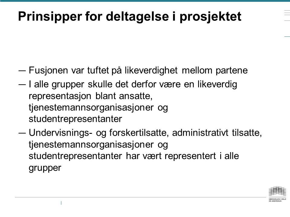 Prinsipper for deltagelse i prosjektet