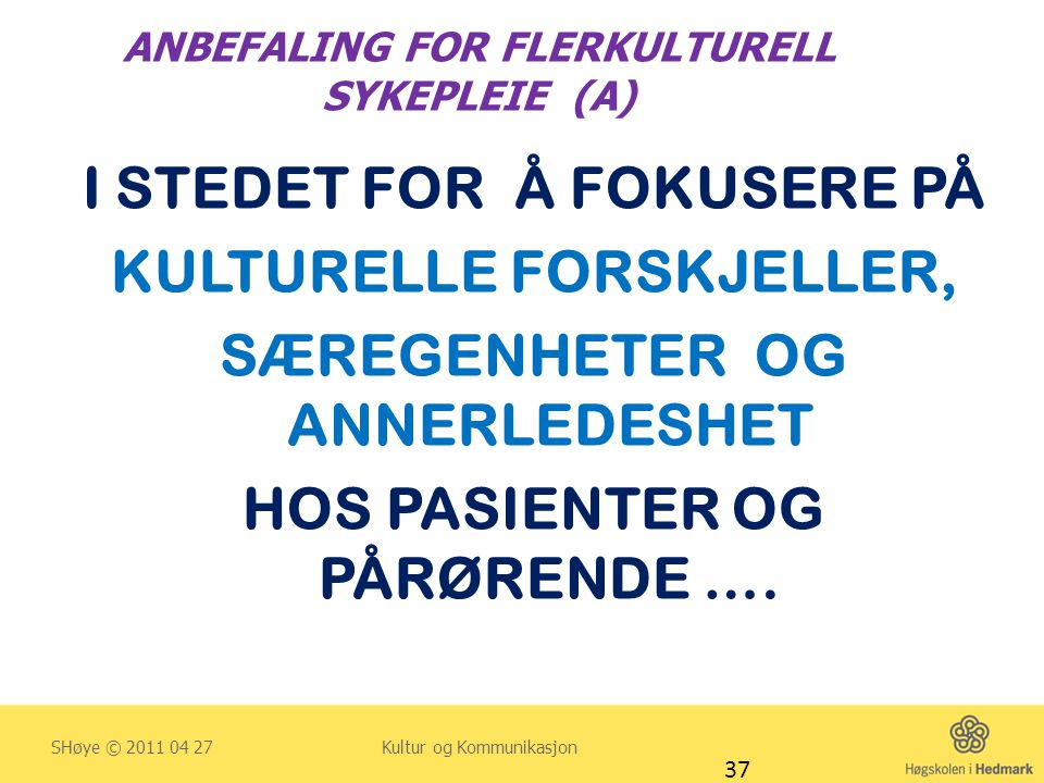 ANBEFALING FOR FLERKULTURELL SYKEPLEIE (A)