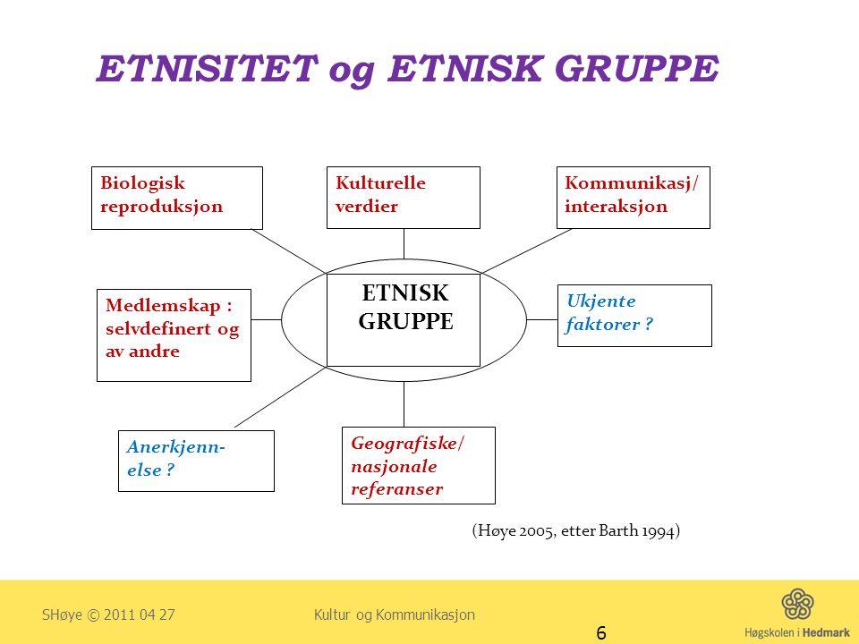 ETNISITET og ETNISK GRUPPE