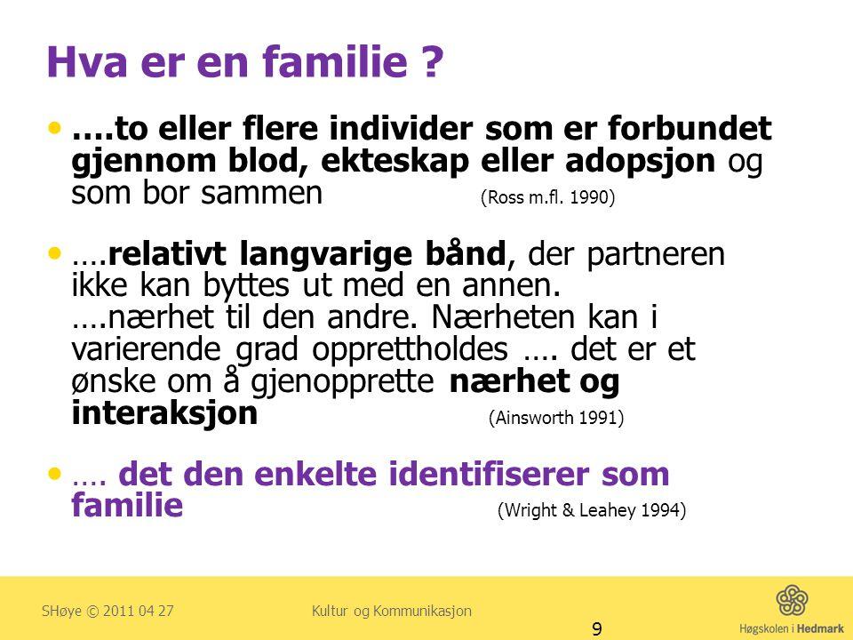 …. det den enkelte identifiserer som familie (Wright & Leahey 1994)