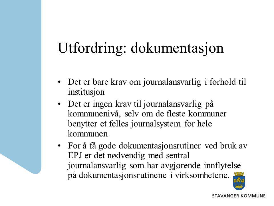 Utfordring: dokumentasjon