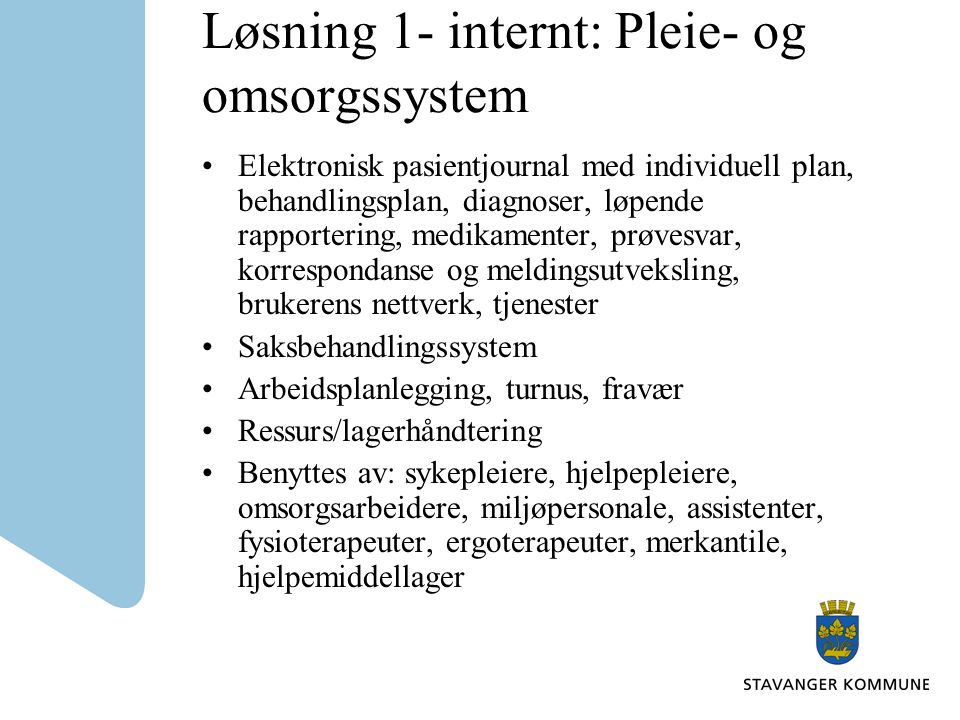 Løsning 1- internt: Pleie- og omsorgssystem
