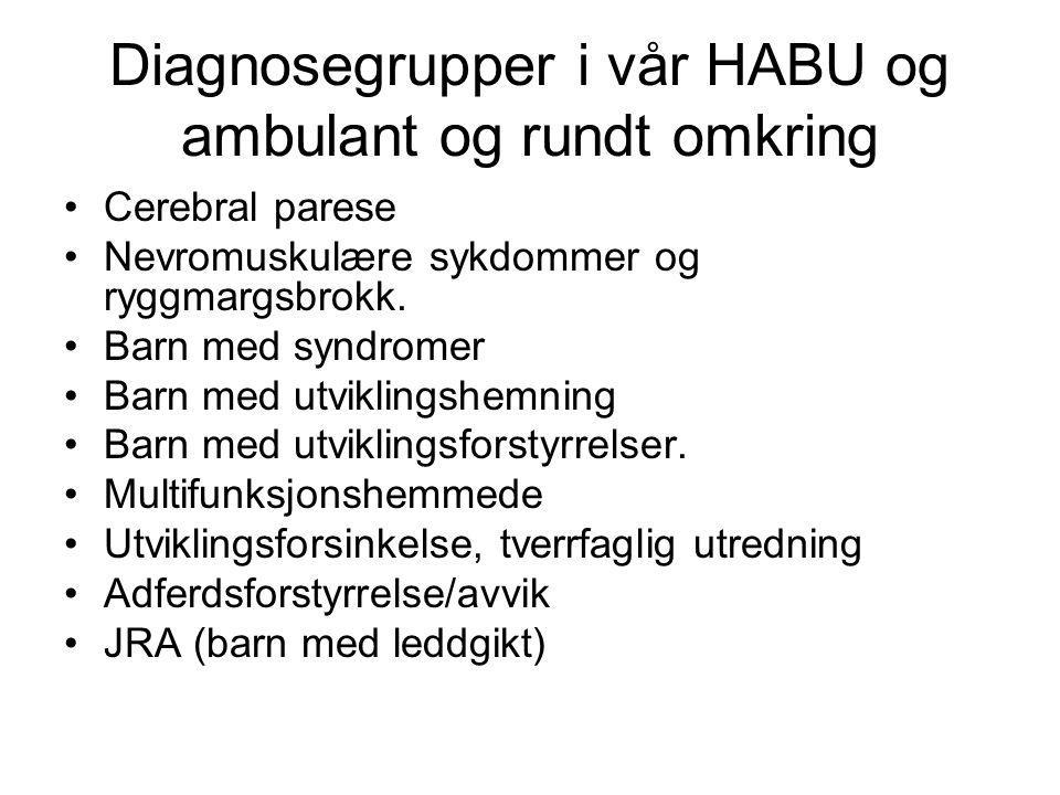 Diagnosegrupper i vår HABU og ambulant og rundt omkring