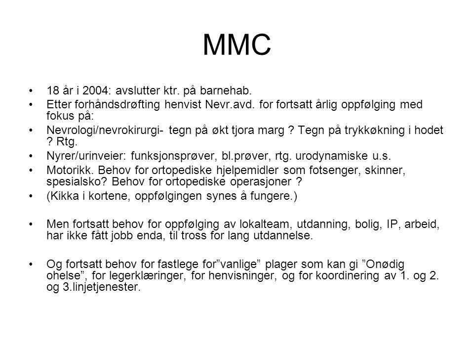 MMC 18 år i 2004: avslutter ktr. på barnehab.