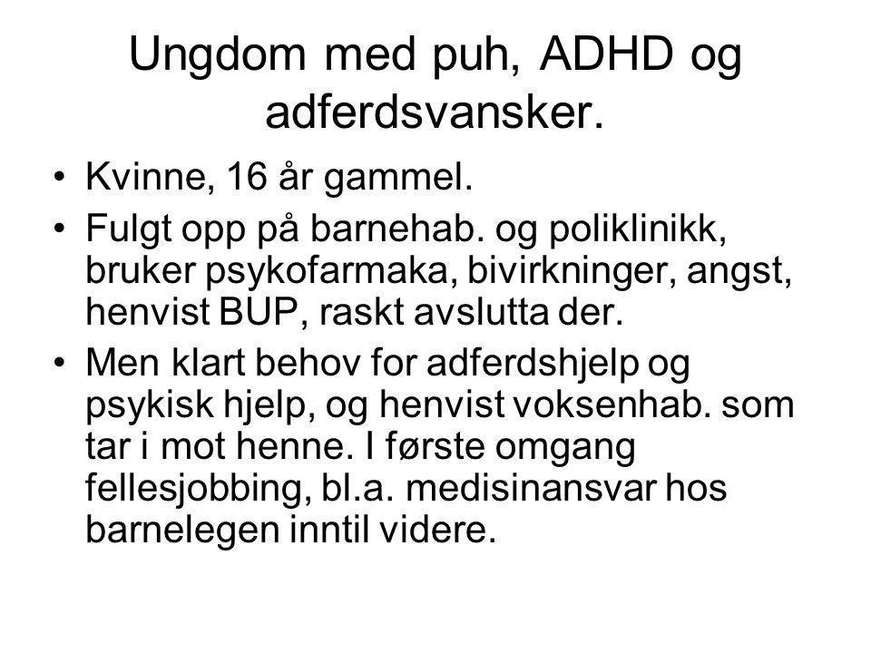 Ungdom med puh, ADHD og adferdsvansker.