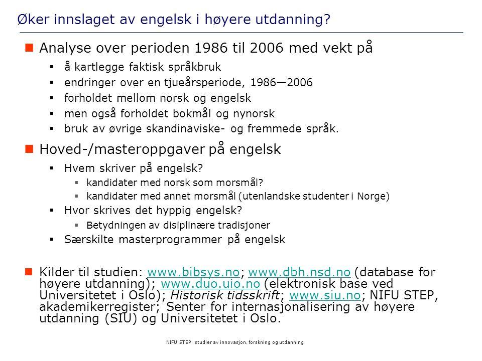 Øker innslaget av engelsk i høyere utdanning