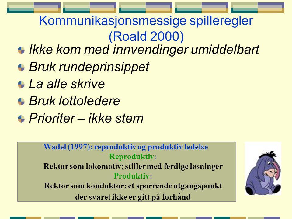 Kommunikasjonsmessige spilleregler (Roald 2000)