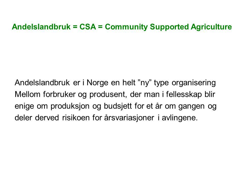 Andelslandbruk = CSA = Community Supported Agriculture