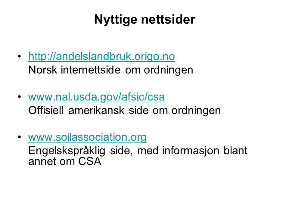 Nyttige nettsider http://andelslandbruk.origo.no