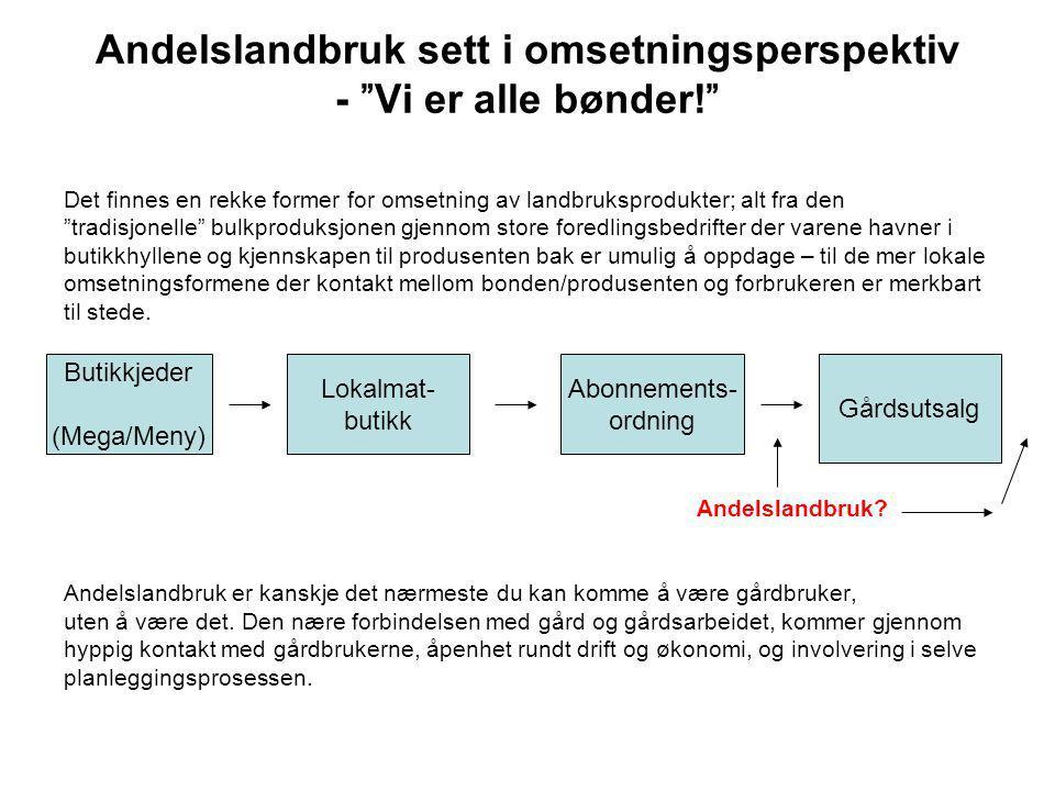 Andelslandbruk sett i omsetningsperspektiv - Vi er alle bønder!