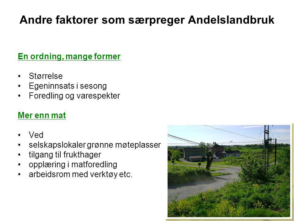 Andre faktorer som særpreger Andelslandbruk