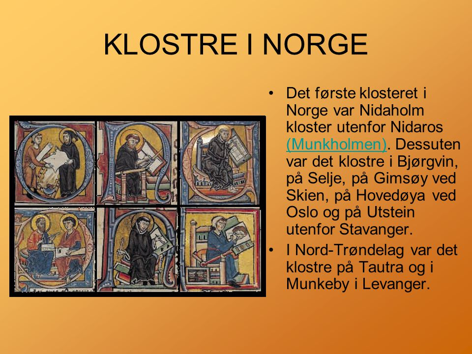 KLOSTRE I NORGE