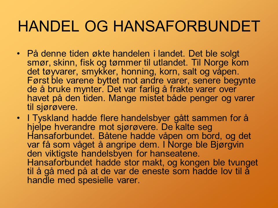 HANDEL OG HANSAFORBUNDET