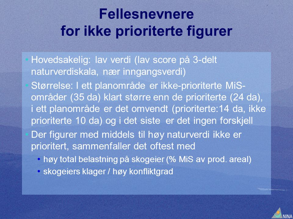Fellesnevnere for ikke prioriterte figurer
