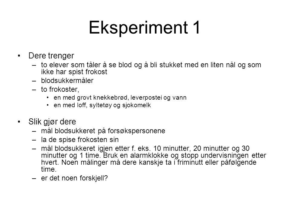 Eksperiment 1 Dere trenger Slik gjør dere
