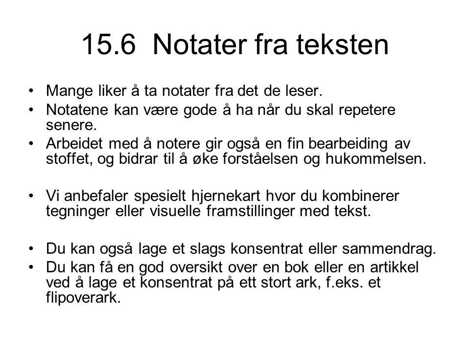 15.6 Notater fra teksten Mange liker å ta notater fra det de leser.