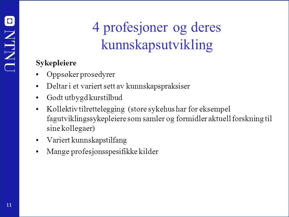 4 profesjoner og deres kunnskapsutvikling