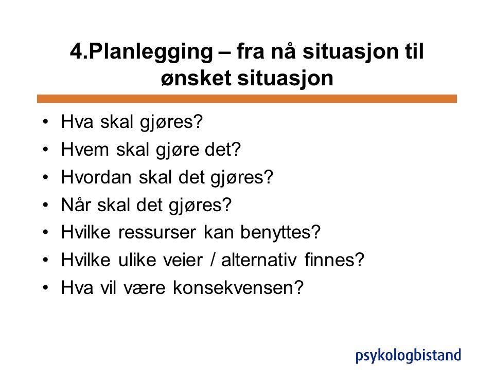 4.Planlegging – fra nå situasjon til ønsket situasjon