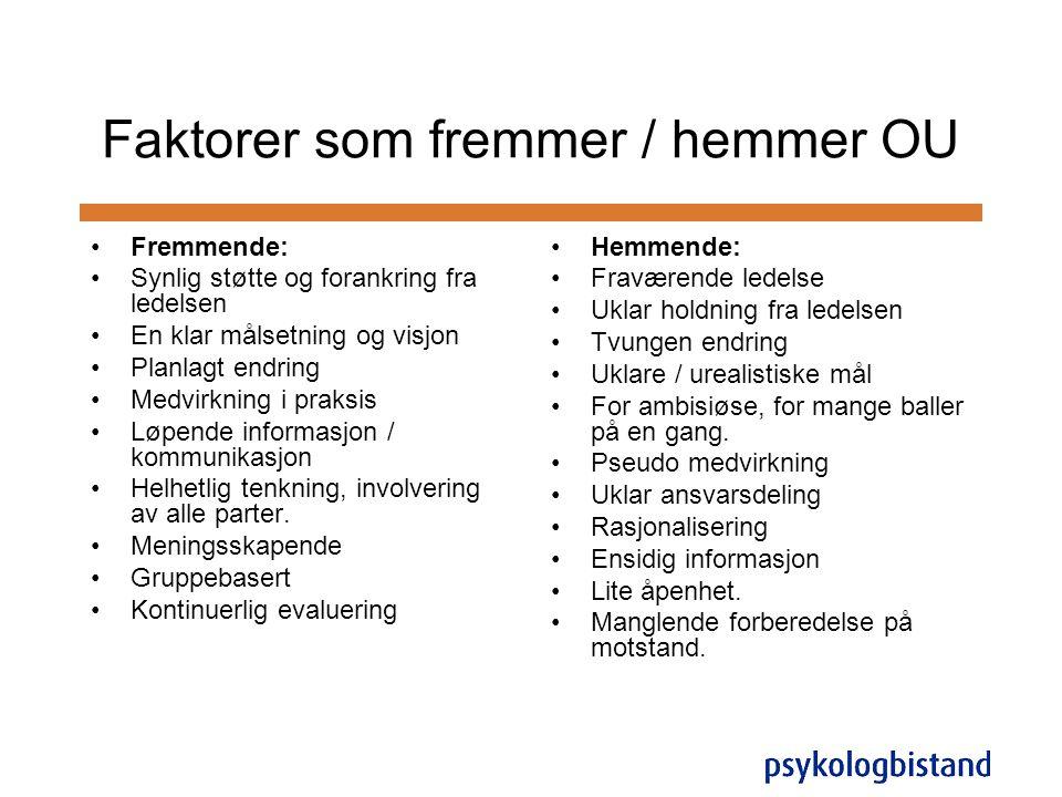 Faktorer som fremmer / hemmer OU