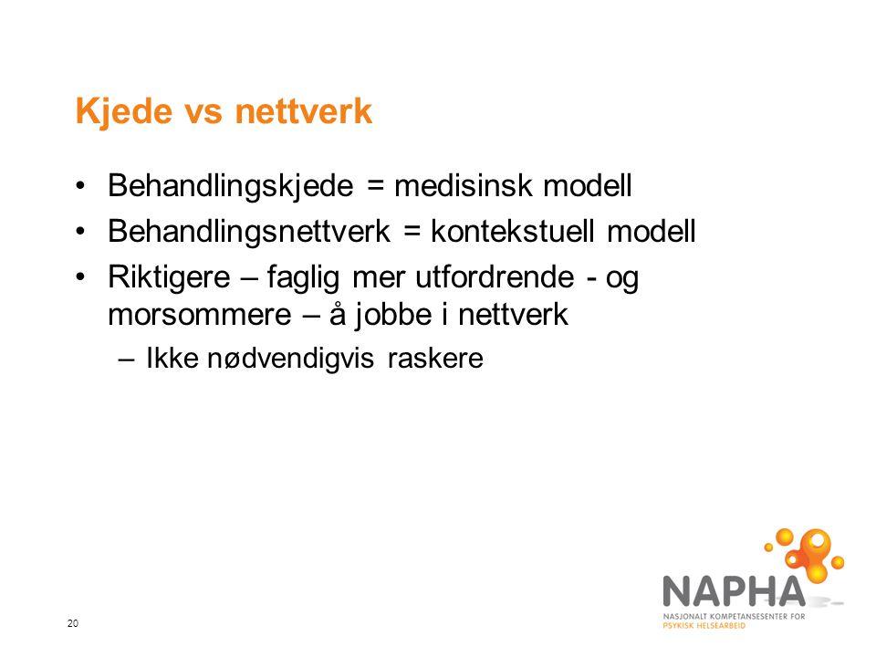 Kjede vs nettverk Behandlingskjede = medisinsk modell