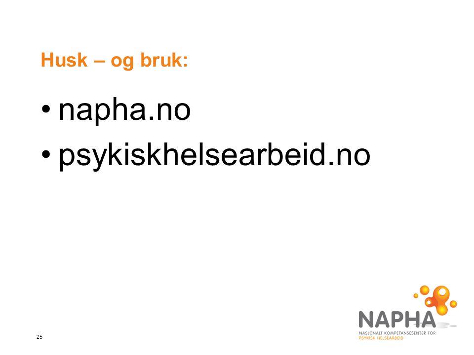 Husk – og bruk: napha.no psykiskhelsearbeid.no